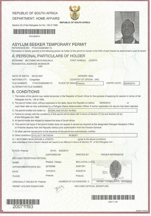Statut temporaire de réfugié accordé à Joseph Mukungubila par l'Afrique du Sud